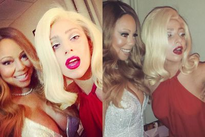 "Mariah Carey and Lady Gaga shared selfies from backstage at Mariah's Christmas show.<br/><br/>""Hey ladies,"" Lady Gaga captioned the Insta-snap. ""Merry F---ing Christmas. Love, Mariah and Gaga. This lady is so kind, such a star, and sounding legendary tonight at Beacon Theatre."""