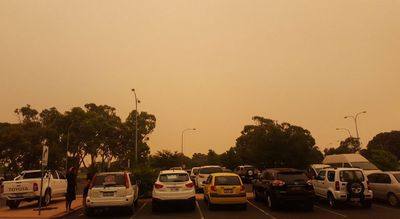 An eerie outlook from the Australind evacuation centre, with clumps of ash reportedly falling from the sky. (Gian De Poloni)