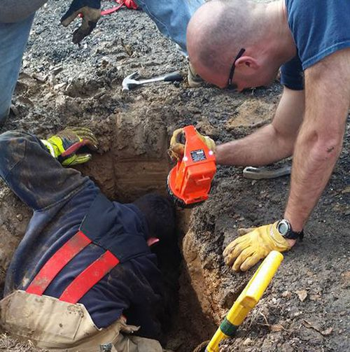 He was found in a sinkhole after 72 hours. (Lisa Van Valkenburgh/ Facebook)