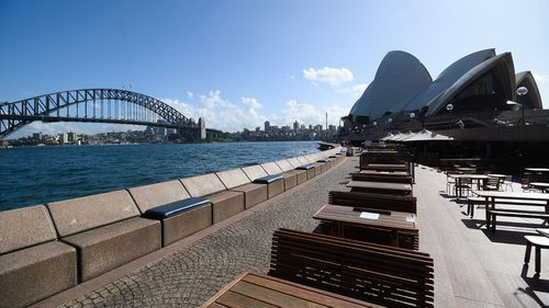 Bars like the Opera Bar in Sydney will close from midday on Monday