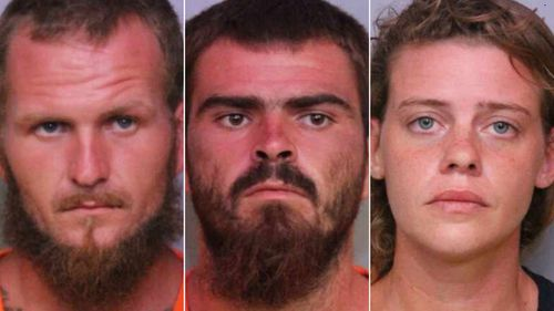"""Tony 'TJ' Wiggins, 26, his girlfriend, Mary Whittemore, 27, and his brother, William """"Robert"""" Wiggins, 21, (centre) were all arrested in relation to the killings of three fishermen."""