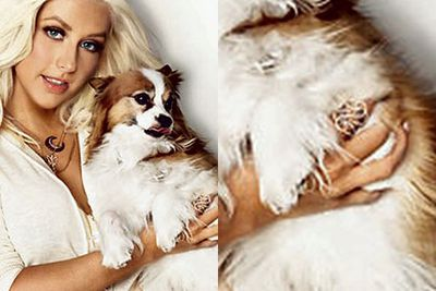 Christina Aguilera's hands have been horribly photoshopped in a 2008 issue of <i>Glamour</i>.