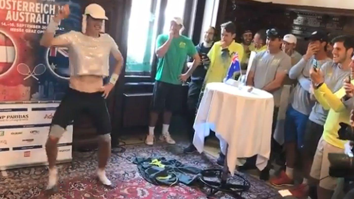 Marc Polmans entertains the Davis Cup team