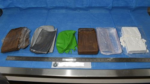 The packages of cocaine were wrapped in several layers.