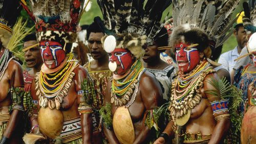 Papua New Guinea warriors gather for a festival. (Getty)