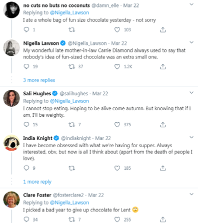 Nigella Lawson chocolate tweet responses