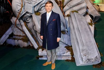 Martin Freeman, who plays Bilbo Baggins in the film, rugs up for the frosty London winter.