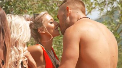 Erin and Eden enjoyed a steamy kiss during the 'Spin The Bottle' challenge on Love Island Australia.