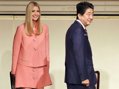 Ivanka Trump with Shinzo Abe at the World Assembly for Women, 2017