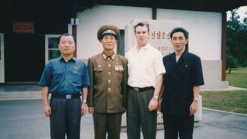 Criminal solicitor Jack Dalziel (second right) with Jon Hak-bom (far right) and Kim Chu-nam (far left).
