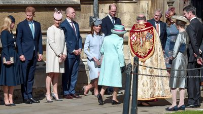 Queen Elizabeth arrives for Easter Sunday service at St George's Chapel, Windsor