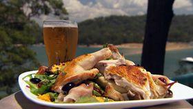 Warm barbecued spatchcock, pumpkin, mushroom and grape salad