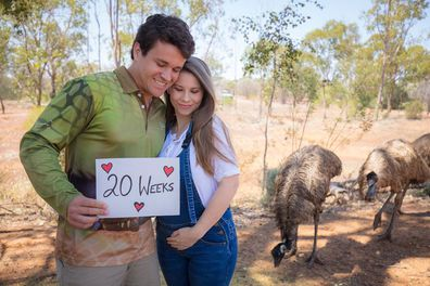 Bindi Irwin shared a post to mark the halfway point in her pregnancy