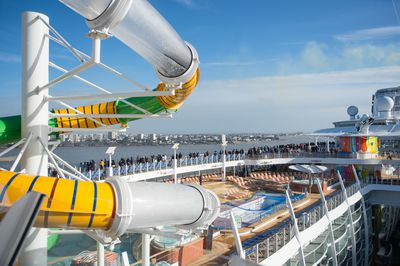 The 230,000 tonne ship features a large waterslide on the pool deck.