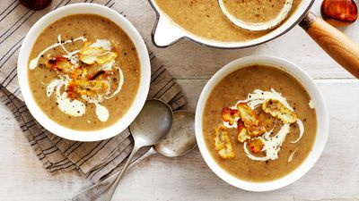 "Recipe: <a href=""http://kitchen.nine.com.au/2017/03/20/12/24/chestnut-and-mushroom-soup"" target=""_top"">Chestnut and mushroom soup</a>"