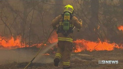 A firefighter struggles to control an out-of-control blaze.