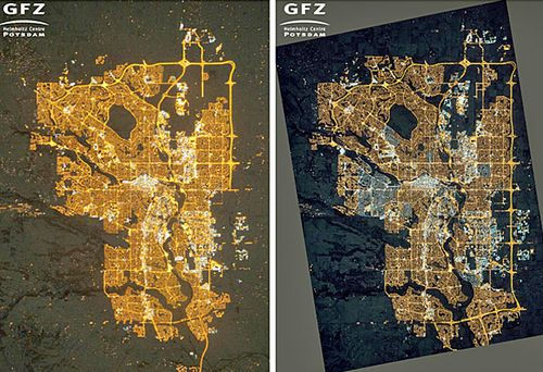 NASA photographs of Calgary in Canada taken in 2010, (left), where residential areas are mainly lit by orange sodium lamps; and on November 27, 2015, (right), where many areas on the outskirts are newly lit compared to 2010, and many homes have switched from orange sodium lamps to white LED lamps.