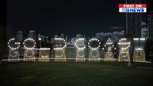 """A barely readable sign """"Gold Coast"""" sign at Yatala, nicknamed 'Hi Lights', has been widely criticised since being built before this year's Commonwealth Games on the Gold Coast. Picture: 9NEWS"""