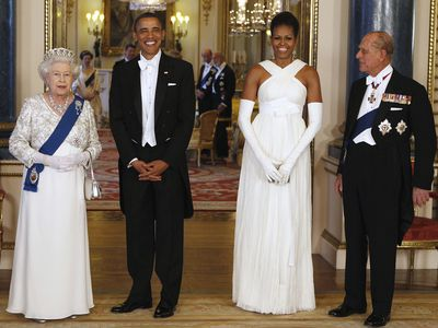 The Queen with Barack and Michelle Obama, 2011