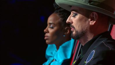 Kelly Rowland and Boy George relax as they listen to Bukhu perform