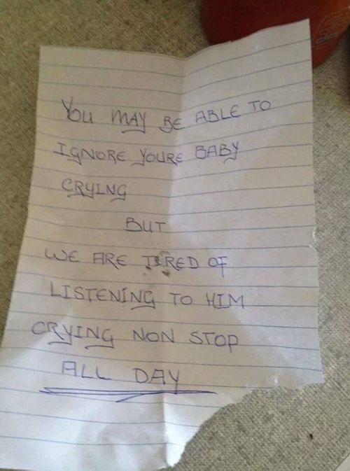 The note left in her mailbox. (Facebook)