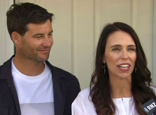 Ms Ardern with her partner Clarke Gayford.