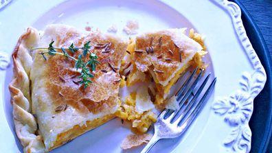 Cheddar, pumpkin and bacon pie