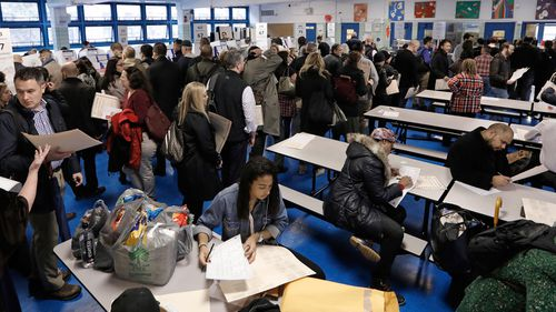 New York City voters queue up to cast their ballots in the 2018 midterm election at Public School 111 on Manhattan's west side.