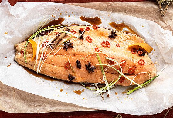 Poached whole salmon fillet with Asian flavours