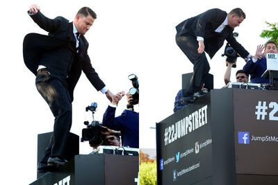 """Channing Tatum showed off his hidden stunt skills at the LA premiere of his new buddy cop comedy <i>22 Jump Street</i>!<br/><br/>Well, sort of! Lucky his co-star Jonah Hill was there to save him from falling into the crowd of screaming fans below. Scroll through to see all the cheeky red carpet snaps from the star-studded event.<br/><br/><i>22 Jump Street</i> hits Aussie cinemas on June 19, 2014.<br/><br/>(<i>Written by <b><a target=""""_blank"""" href=""""https://twitter.com/yazberries"""">Yasmin Vought</a></b>. Approved by Amy Nelmes.</i>)"""