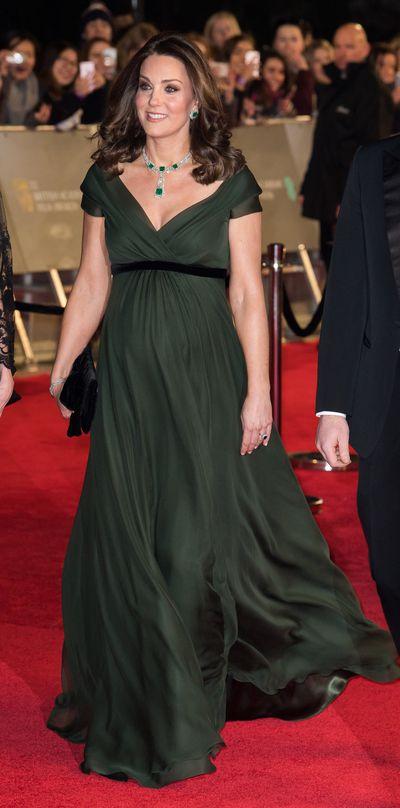 Duchess of Cambridge Kate Middleton in Jenny Packham at the 2018 BAFTA Awardsat Royal Albert Hall on February 18, 2018