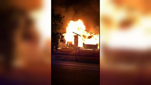 Images from the scene show the fierceness of the house fire on the unoccupied weatherboard property.