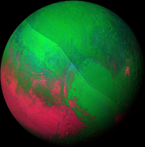 Pluto adorned in festive colours with the help of special lenses. (NASA).