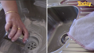 The simple concoction makes the sink look brand new.