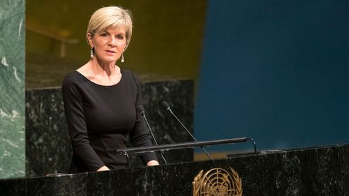 Australian Foreign Minister Julie Bishop addresses the United Nations General Assembly on Wednesday. (AAP)