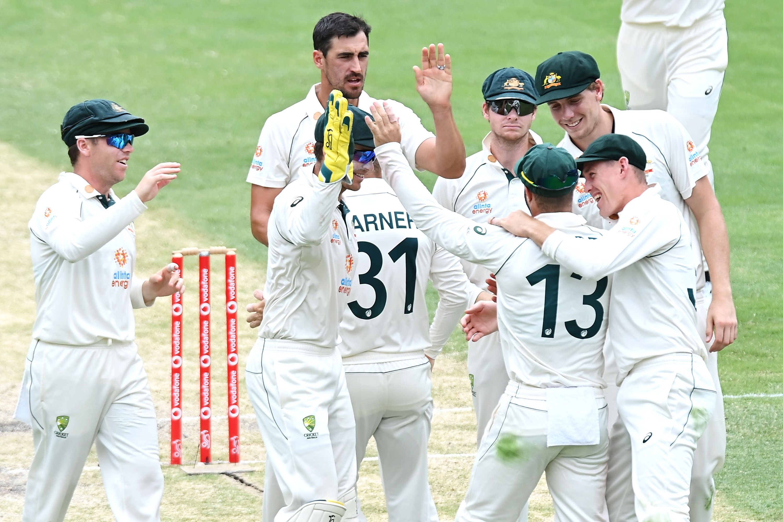 Australia celebrate at The Gabba.