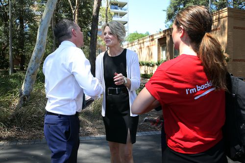 Chris Bowen and Labor's candidate for Bennelong, Kristina Keneally leave a press conference where they discussed the Turnbull Government's cuts to services. (AAP)