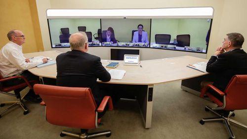 Prime Minister Scott Morrison speaks to Queensland Premier Annastacia Palaszczuk in the National Cabinet.