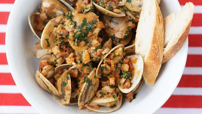 """Recipe: <a href=""""http://kitchen.nine.com.au/2017/09/15/14/36/surf-clams-with-onion-pancetta-and-paprika"""" target=""""_top"""" draggable=""""false"""">Surf clams stir-fried</a>-It's the perfect excuse to celebrate the Sydney Fish Market's annual <a href=""""http://www.sydneyfishmarket.com.au/our-company/sfm-events-details/ArtMID/2188/ArticleID/78/blessing-of-the-fleet"""" target=""""_top"""">Blessing of the Fleet</a>, September 17, 2017, 10.30am-3pm, including the gorgeous blessing parade at the market."""