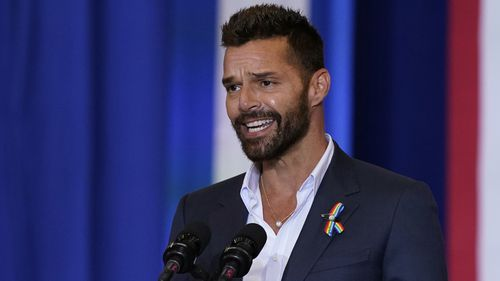 Singer Ricky Martin speaks during the Hispanic Heritage Month event.