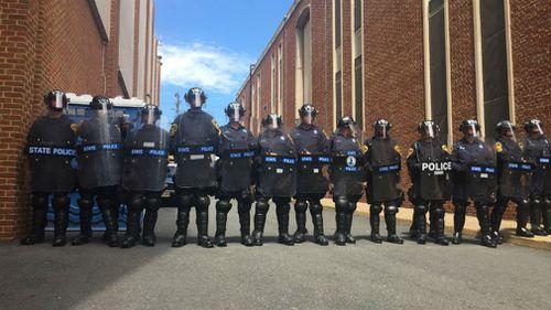 A heavy police presence. (Lizzie Pearl)