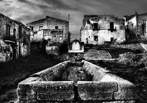 The main drinking trough of the ghost town of Poggioreale, Sicily