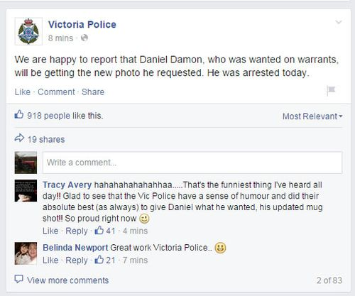 Today Victoria Police announced the arrest on Facebook.