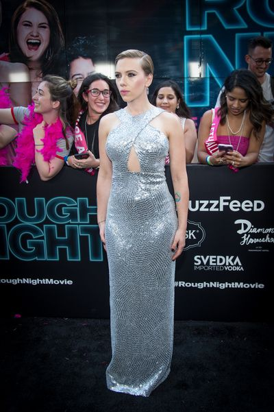 Scarlett Johansson in Michael Kors at the premiere of Rough Night in New York.