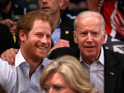 Prince Harry with Joe Biden at the 2016 Invictus Games in Florida.