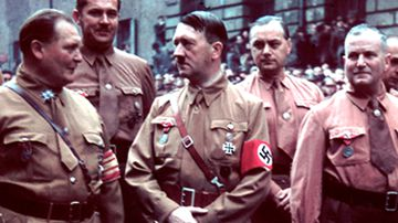 The Blutorden Blood Order Medal was awarded to Ulrich Graf (right), who stands next to Adolf Hitler.