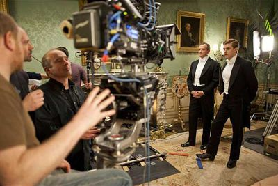 Dan Stevens (Matthew Crawley) and Hugh Bonneville (Robert Crawley) amuse themselves while a scene is set up.