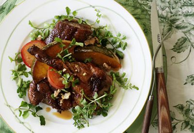 Crisp duck, pumpkin and plum salad