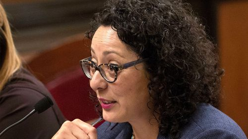 Assemblywoman Cristina Garcia, D- Bell Gardens, speaks at the Capitol in Sacramento, Calif. Garcia, the head of California's legislative women's caucus and a leading figure in the anti-sexual harassment movement is herself the subject of a sexual misconduct claim, Politico reported Thursday, Feb. 8, 2018. (AP Photo/Rich Pedroncelli, File)