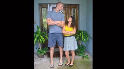"""""""My fiancé (6'10"""") and I (5'5"""")."""" (Facebook: Sofia Moumouris)"""